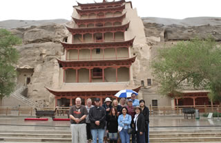 In front of the Mogao Grottos