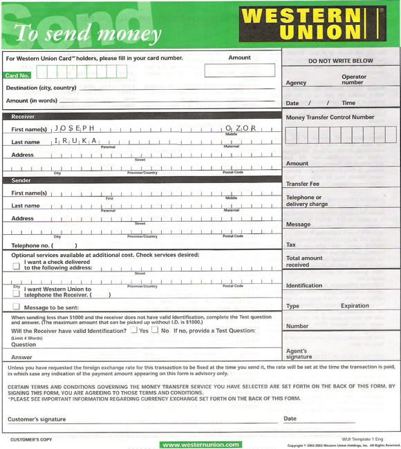 About Western Union. Western Union is one of the longest established and most widely used money transfer services available today. This money transfer service offers consumers the ability to easily and safely transfer money to anyone who may be within close proximity to a Western Union.